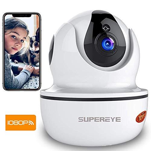 SuperEye 1080P WLAN Kamera mit Nachtsicht,Überwachungskamera IP Kamera Indoor WLAN,Smart Home WiFi Kamera,Bewegungsmelder,2-Way Audio,App Kontrolle Haus Monitor Haustier Kamera,Unterstützt Fernalarm