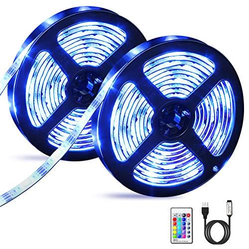 6M LED Streifen OMERIL USB LED Strip Wasserdicht LED Band RGBW mit Fernbedienung, LED Leiste Lichtband mit 16 Farbwechsel, 4 Modi, Verstellbare Helligkeiten/Geschwindigkeit für Haus, Küche, Party usw.