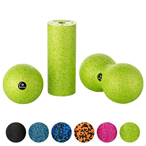 BODYMATE Faszien Mini-Set Apfel-Grün - Mini-Faszien-Rolle L15xD6cm, Ball D8cm und Duo-Ball D8cm im Set