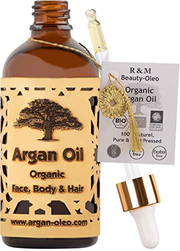 R&M Arganöl Bio kaltgepresst - Marokkanisches Fair Trade Öl für Haare, Gesicht, Nägel und Lippen, sowie gegen Narben und Pickel & als Massageöl - Flasche mit Pipette (100ml)