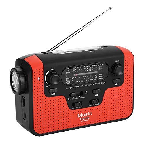 Solar Radio,Tragbar FM/AM/SW Kurbelradio Solarradio Wiederaufladbare Dynamo Radio mit LED Taschenlampe,Solar Handkurbelradio Handy Ladegerät Radio,Unterstützung Freisprecheinrichtung/TF-Karte(Rot)