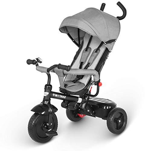 besrey Dreirad 4 in 1 Kinderdreirad Dreirad für Kinder Tricycle mit Schubstange Sonnendach ab 1-6 Jahre. Grau.