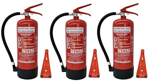 3 x 6 kg Feuerlöscher EN3 ABC Pulver Messingarmatur + Sicherheitsventil + Manometer + Standfuß + Wandhalterung Pulverlöscher