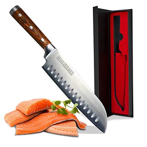 ZOLMER Profi Santokumesser aus deutschem Carbon Edelstahl und Pakkaholz - Rostfreies Sushi Messer mit Antihaftbeschichtung - Japanisches Küchenmesser
