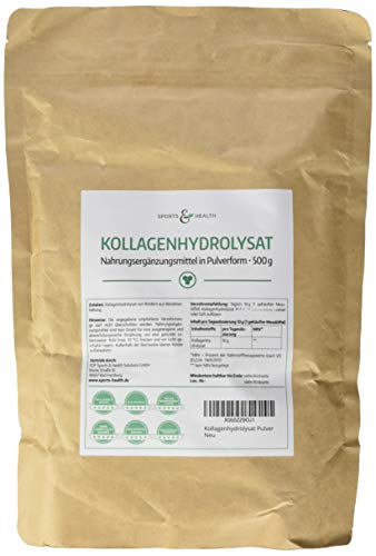 Kollagen Pulver Aus Kollagenhydrolysat mit 500g Collagen von Rindern aus Weidetierhaltung Mit Herstellung aus Deutschland Und Extra Passenden Dosierlöffel Für Unser Hydrolisiertes Collagen