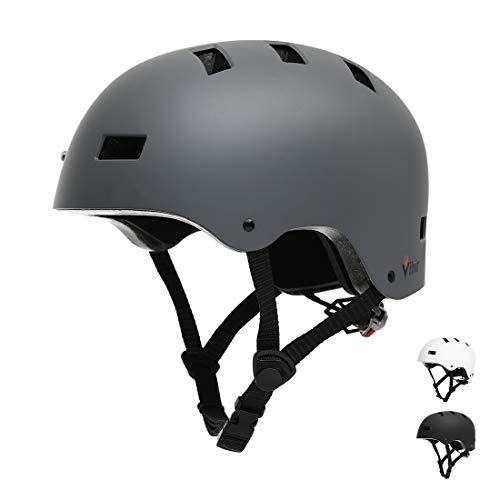 Vihir Erwachsene Fahrradhelm skaterhelm BMX fahradhelm Herren Damen Kinder Sport Helm für Männer & Frauen, Dunkelgrau/S