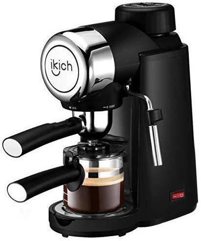 Espressomaschine, IKICH 4Cup Siebträgermaschine mit Löffel, Cappuccino Kaffeemaschine mit Dampfmilchaufschäumer, Espresso Kaffeemaschine mit Karaffe, Schwarz