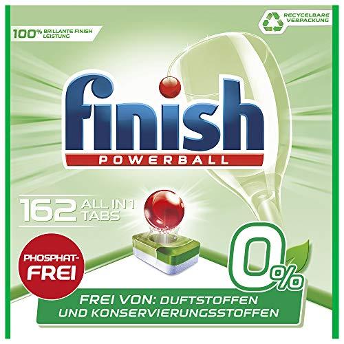 Finish 0 Prozent All in 1 Spülmaschinentabs, phosphatfrei - Geschirrspültabs gegen hartnäckigste Fettanschmutzungen - Recyclebar - Großpackung mit 162 Finish Tabs