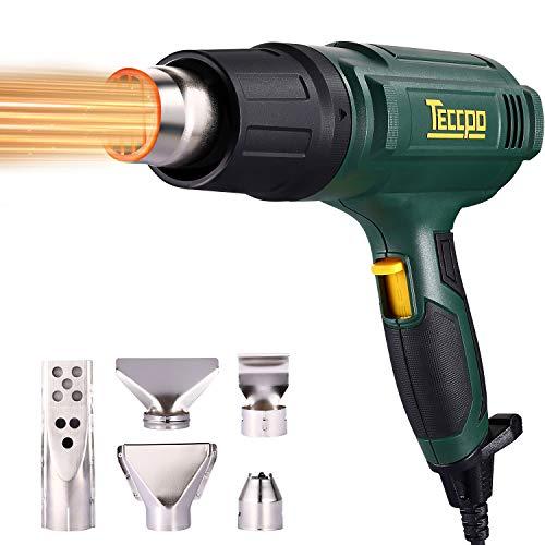 Heißluftpistole, TECCPO 2000W Heißluftfön, 230V Superluftvolumen 500L/min, 3 einstellbare Temperaturen (50 ℃/480 ℃/600 ℃), mit 5 praktischen Zubehörteilen - TAHG07P