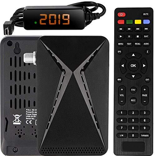Echosat OM-26100 Mini Sat Receiver -DVB S/S2 Satelliten Receiver ✓Full HD ✓1080 P ✓HDMI ✓2 x USB 2.0 ✓HDTV [Digital Satelliten Receiver] ️{Astra Hotbird Türksat }️-Schwarz