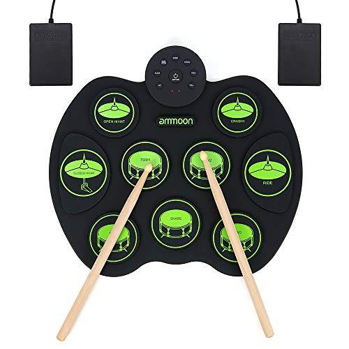 E-Drum Elektronisches Schlagzeug Kit 9 Pads, ammoon Tragbare Roll Up Schlagzeug, Faltbare Praxis-Instrument Eingebaute Lautsprecher & Drum Fußpedale Drumsticks für Kinder, Anfänger, Schlagzeuger