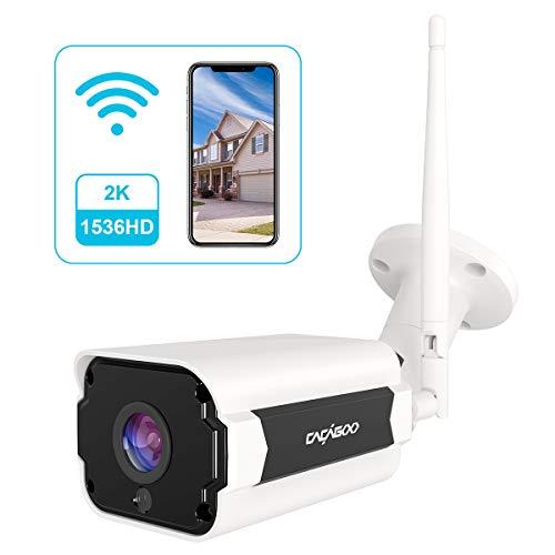 CACAGOO Überwachungskamera Aussen Wlan 1536P HD IP66 IP Kamera Wasserdichte Sicherheitskamer, Zwei-Wege-Audio Bewegungserkennung Wasserdicht Fernzugriff kompatibel mit Smartphones Tablets und PC