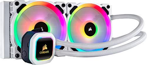 Corsair Hydro Series H100i RGB Platinum SE Wasserkühlung/CPU-Flüssigkeitskühlung (240mm Radiator, Zwei LL120 RGB-PWM-Lüfter, Erweiterte softwaregesteuerte RGB Beleuchtung) weiß