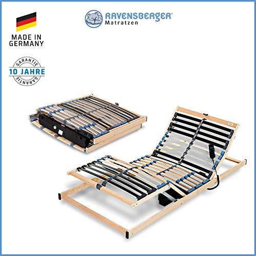 Ravensberger Matratzen® PURAMED ® Lattenrost | 7-Zonen-Birke-Lattenrahmen | 28 Leisten| Elektrisch| KLAPPRAHMEN - Made IN Germany | 100 x 200 cm