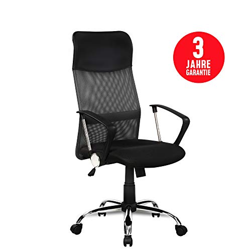 Inova Design Bürostuhl ergonomisch für optimalen Sitzkomfort Büro Stuhl orthopädischer Bürostuhl schwarz mit Armlehnen höhenverstellbarer Bürostuhl 150 kg belastbar Drehstuhl Schreibtischstuhl, Fit