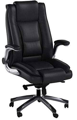 VANBOW Bürostuhl aus Leder mit hoher Rückenlehne - Einstellbarem Neigungswinkel und hochklappbare Armlehne Computer Chefsessel, üppige Polsterung, Komfortables und ergonomische Lendenstütze, schwarz