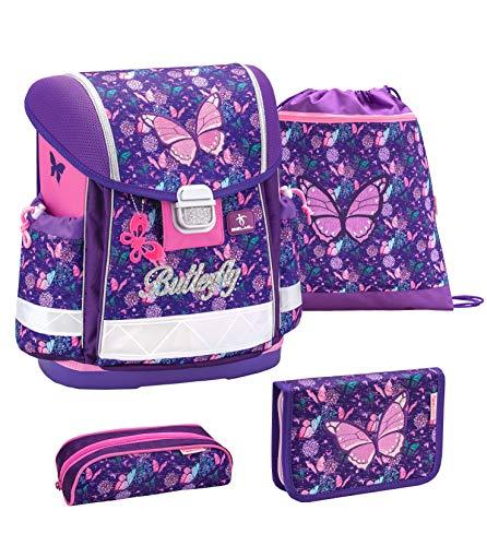 Belmil Schulranzen Set 4 - teilig ergonomischer Schulranzen Mädchen 1. klasse 2. klasse 3. klasse - Super Leicht 850-940 g/Grundschule/Schmetterling lila,rosa (403-13 Butterfly)