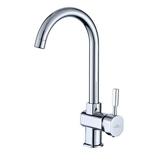 Auralum 360 ° drehbarer Küchenarmatur, Mischbatterie Küchenarmaturen Spülbecken Wasserhahn, Waschtischarmatur für Spüle (J form 36 x 14CM)