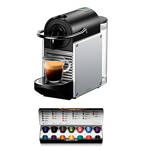 De'Longhi EN 124 EN124.S Kapselmaschine Pixie 1260 Watt Seitenwände aus recycelten Nespresso Kapseln, silber