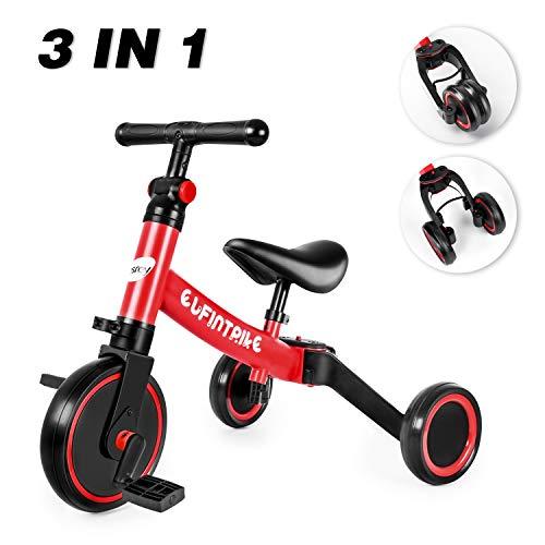 besrey 3 in 1 Laufräder Laufrad Kinderdreirad Dreirad Lauffahrrad Lauflernhilfe für Kinder ab 1 Jahre bis 5 Jahren - Rot