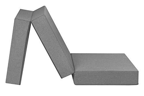Badenia Trendline faltbare Gästematratze XXL, Komforthöhe von 15cm, 196 x 65 x 15,5 cm Liegefläche, hellgrau