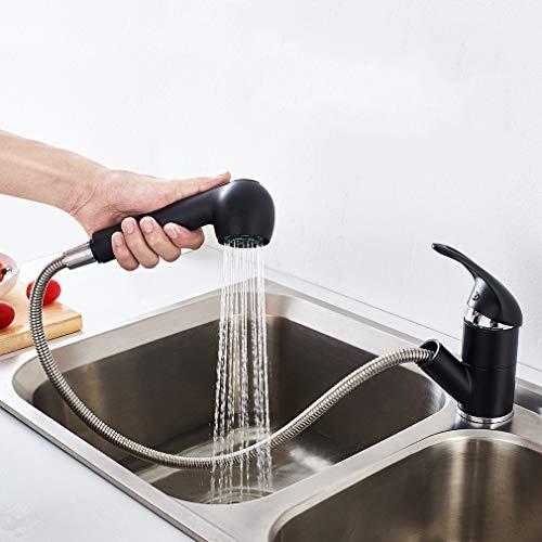 Auralum Küche Wasserhahn mit ausziehbarer Brause, Schwarz Küchenarmatur Spültisch Einhebelmischer mit Zwei Funktion Brause