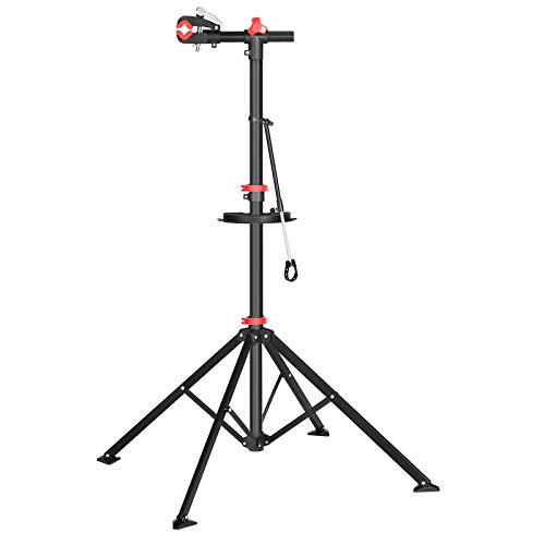 SONGMICS Fahrradmontageständer, Reparaturständer für Fahrräder, Fahrradreparaturständer für Profis, mit Schnelllösevorrichtung, Werkzeugschale und Lenkerhalter, leicht, tragbar, schwarz SBR06B