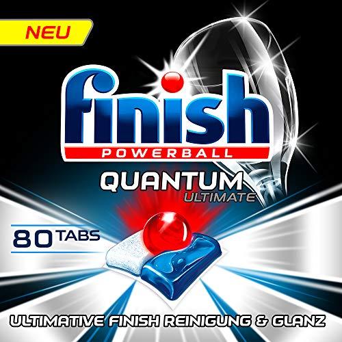 Finish Quantum Ultimate Spülmaschinentabs - Phosphatfreie Geschirrspültabs mit 3-fach Wirkung - Kraftvolle Reinigung, Fettlösekraft und Glanz - Sparpack mit 80 Finish Tabs