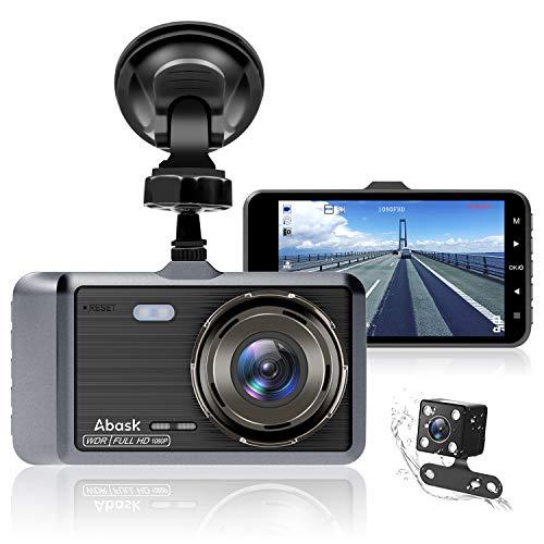 Abask Dashcam Auto Vorne und Hinten Autokamera mit 32 GB SD-Karte, 4 Zoll Full HD 1080P, 170 ° Weitwinkel, Nachtsicht, G-Sensor, WDR, Loop-Aufnahm, Parküberwachung und Bewegungserkennung