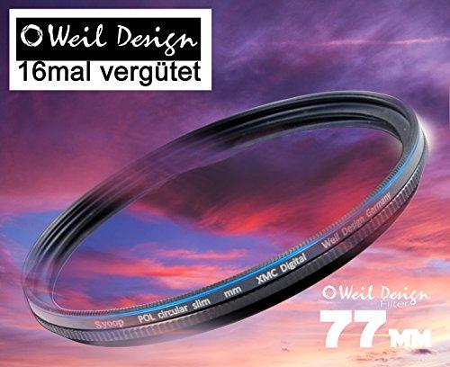 Polfilter POL 77mm Circular Slim XMC Digital Weil Design Germany SYOOP * Kräftigere Farben * Frontgewinde * 16 Fach XMC vergütet * inkl. Filterbox * zirkulare (77mm)