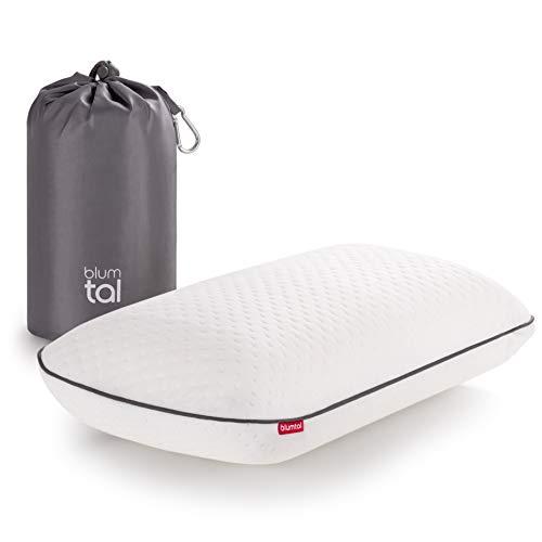 Blumtal Visco-Schaum Reisekissen Memory Foam - Reise Nackenkissen mit Tasche, komprimierbar, ideales Camping Kopfkissen, 42x23x11cm