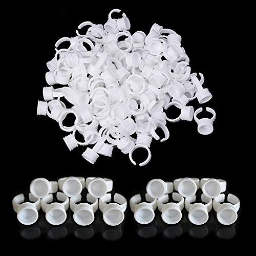 Wimpernkleberhalter - SOTICA 300PCS Mittlere Tätowierungs-Tintenringe Tassen Einweg-Make-up-Ringe Tätowierungskleberhalter, Kunststoff-Nagelkunst-Wimpernverlängerungsringe Klebende Make-up-Kleberinge