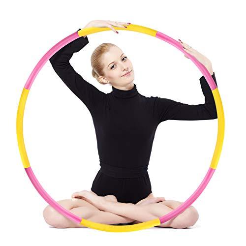 Hula Hoop zur Gewichtsreduktion,Reifen mit Schaumstoff ca 1,2 kg Gewichten Einstellbar Breit 48-88 cm beschwerter Hula-Hoop-Reifen für Fitness (4 Knoten Rot + Gelb)