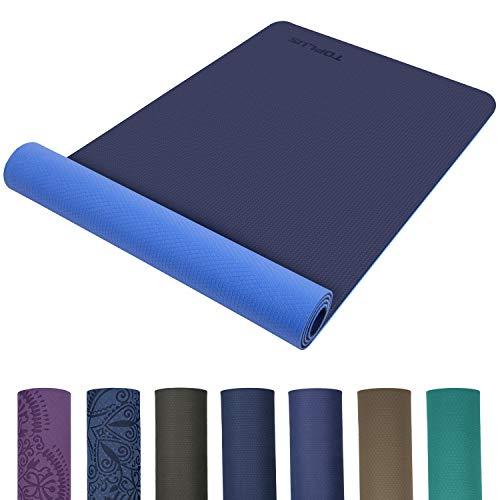 TOPLUS Preumium Yogamatte aus hochwertigen TPE, rutschfest Yogamatte Gynastikmatte Übungsmatte Sportmatte für Yoga, Pilates,Fitness usw.- Maße 183cm Länge 61cm Breite (2020