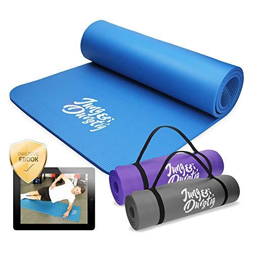 Jung & Durstig Original Yogamatte   Fittnessmatte 180 x 60 x 1 cm   Gymnastikmatte für Pilates, Fitness & Physiotherapie in versch. Farben   Tragegurt für Zuhause und unterwegs (Blau)