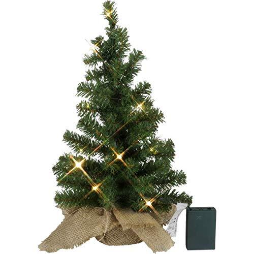 KAMACA LED Künstlicher Weihnachtsbaum Tannenbaum im Beutel mit Timer und 10 warm weissen LED Höhe 45 cm zum individuellen Dekorieren (im Jute Sack 45 x 25 cm)