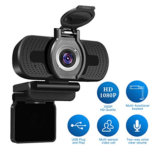 Full HD Webcam 1080p Videokamera mit Webcam-Abdeckung, LarmTek USB Webcam mit Eingebautes Mikrofon, Mini Plug & Play für Desktop, Notebook, PC, ideal für Konferenzen, Live Übertragungen und Videoanruf