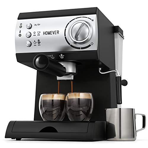 Espresso Siebträgermaschine,Homever 15 Bar Espressomaschine Kaffeemaschine mit Milchschaum Düse,1050W Direktwahltasten & Drehregler,1 oder 2 Tassen Espresso Funktion zum Espresso,Latte,Cappuccino
