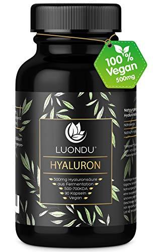 Hyaluronsäure Kapseln 500mg hochdosiert Anti-Aging*, Haut & Gelenke* - 90 Stück (3 Monate) Hyaluron 500-700 kDa Vitamin B2, Zink, Selen & Vitamin C - Laborgeprüft, Vegan, hergestellt in DE