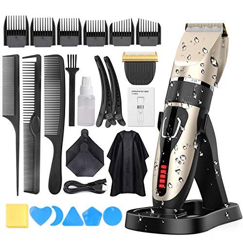 Haarschneidemaschine, Oudekay Profi Haarschneider Maschine Herren Akku Haarscherer 21-teiliges Set IPX7 Wasserdicht Elektrisch Langhaarschneider Haarrasierer Bartschneider Haartrimmer für Männer