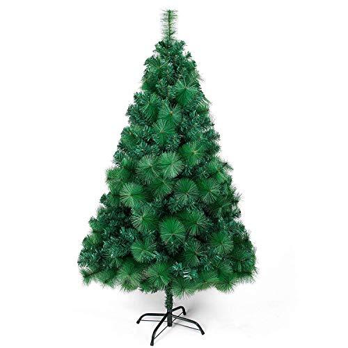 OZAVO Künstlicher Weihnachtsbaum Nadel PVC Christbaum Grün mit Metallständer, Tannenbaum 150 cm 500 Spitzen Baum Weihnachtsdeko Weihnachtstanne Xmas
