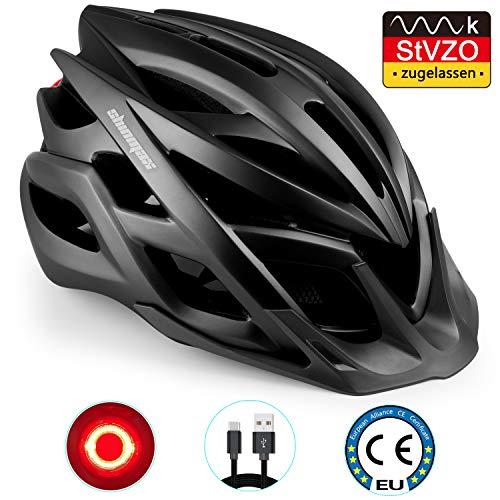 Shinmax Fahrradhelm mit StVZO LED Licht, männer & Frauen Fahrradhelm Radrennen MTB Helm mit Sonnenschutzkappe abnehmbarem Visier Superleichter Verstellbarer Fahrradhelm mit CE-Zertifikat