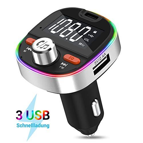 FM Transmitter MustWin Bluetooth 5.0 Adapter Auto mit 3 USB Ladegerät, Radio Transmitter PD 3.0 Freisprecheinrichtung mit 7 Umgebungslicht +Stereo +Bass, Unterstützt 64GB TF-Karte &USB-Stick