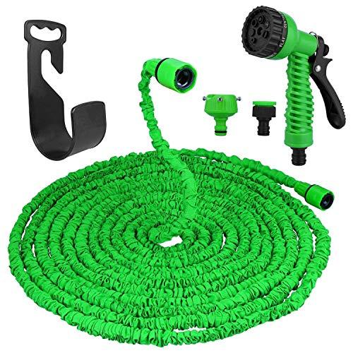 Flexibler Gartenschlauch, 30M 100FT Flexischlauch Gartenschlauch Flexi Wonder, Flexi Wonder Gartenteich Schlauch Bewässungs Schlauch Dehnbar mit 8 Funktion Garten Handbrause(10M Ausgedehnt 30M) (Grün)
