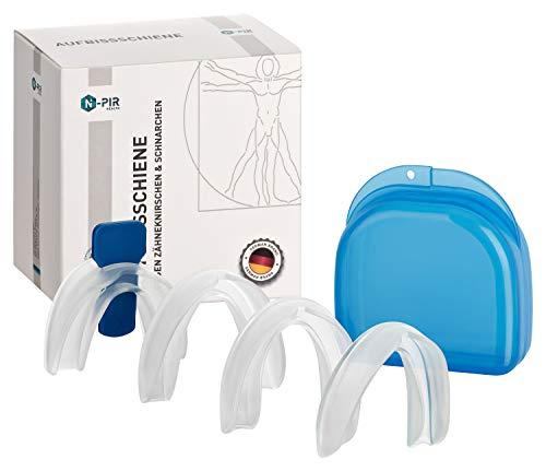 N-PIR PREMIUM ANTI-SCHNARCHSCHIENE I Verbessertes Konzept 2020 als 4-ER SET inkl. Transportbox I Verwendbar als Aufbissschiene gegen Zähneknirschen Beißschiene gegen Knirschen I ANTI-SCHNARCH 2.0