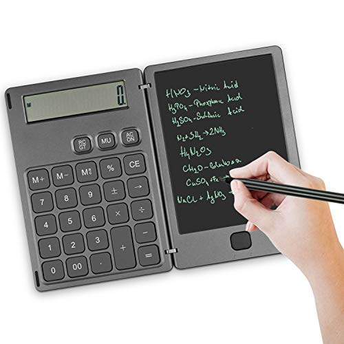 NEWYES Standard Taschenrechner und Schreibtafel 2 in 1 Mutifunktionen,6,5 Zoll LCD Display mit Stift,für Rechnen, Notizen, Schreiben (Grau)