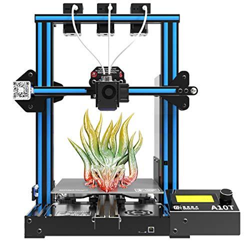 GIANTARM Geeetech A10T 3D-Drucker mit 3 in 1 out Mix-Color-Druck, Integrierte Gebäudebasis, Three-Extruder-Design, Break-Resuming-Funktion, Prusa I3 schnell-Montage DIY-Kit, 220 * 220 * 250m³