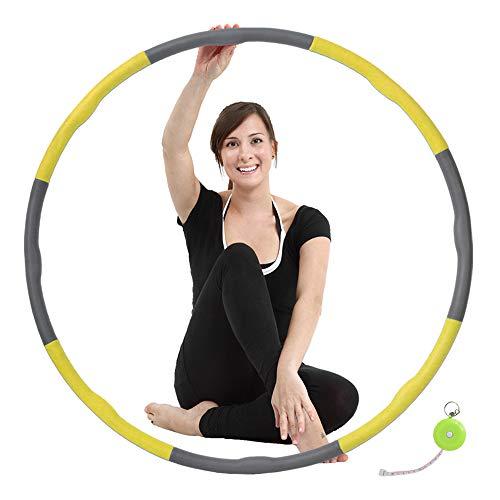 ATIVAFIT Hula Hoop Reifen mit Schaumstoff Beschwerter Reifen mit Einstallbarer Bereit 8 Abschnitten Sport Hula Hoop Reifen Gymnastikreifen für Fitness und Abnehmen (Gelb)
