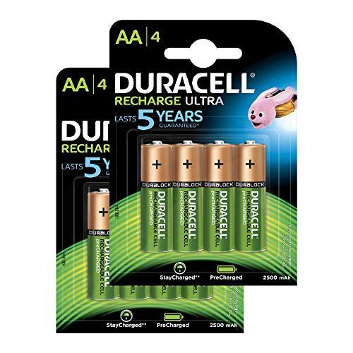 Duracell Recharge Ultra AA Mignon Akku Batterien LR6 2500 mAh, 8er Pack