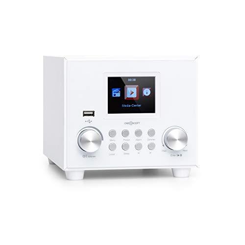 """oneConcept Streamo Cube Internetradio, Radioempfang per WLAN, Lautsprecher 3W & Subwoofer 5W RMS, Bluetooth, Anschlüsse: USB, AUX-IN, Kopfhörer, 2,8\"""" HCC Display, inkl. Fernbedienung, weiß"""